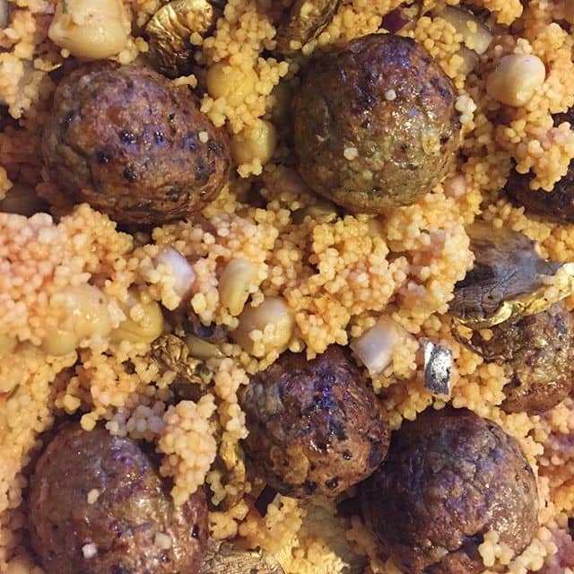 Slimming World tomato and basil cous cous with meatballs