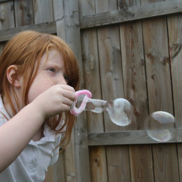Make homemade bubbles using  washing up liquid and water. Use pipecleaners for the blowers and learn that you're never too old for bubbles!