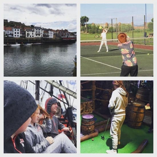 Day 1 - Whitby for fish and chips, crazy golf, a sail on a pirate ship and a game of tennis at the park. #summer #family #fun