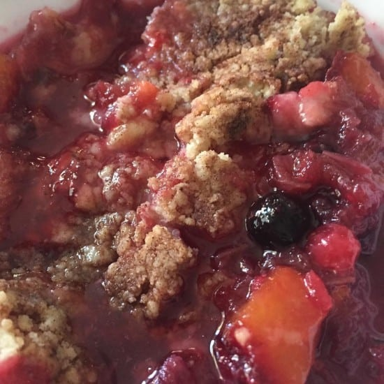 Homemade rhubarb and plum crumble