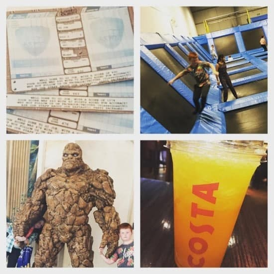 Day 6 - laser quest while I relax in Costa, bouncing, shopping and a picnic on the hotel beds.