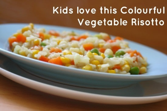 Kids love this Colourful Quick and Easy Vegetable Risotto