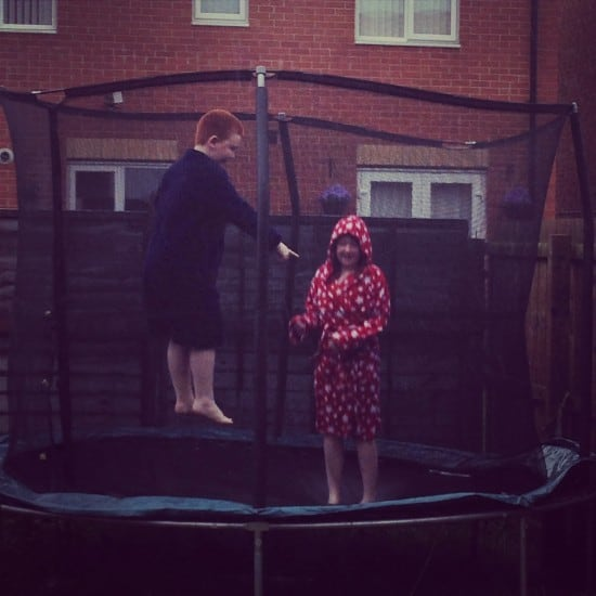 Bouncing on the trampoline in the rain is more fun that when it's sunny apparently.