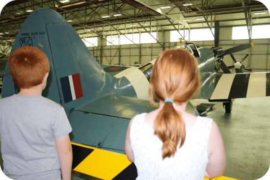 Learning about the aircraft at the Battle of Britain Memorial Museum