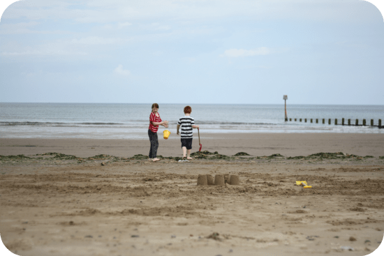 Collecting shells at the beach