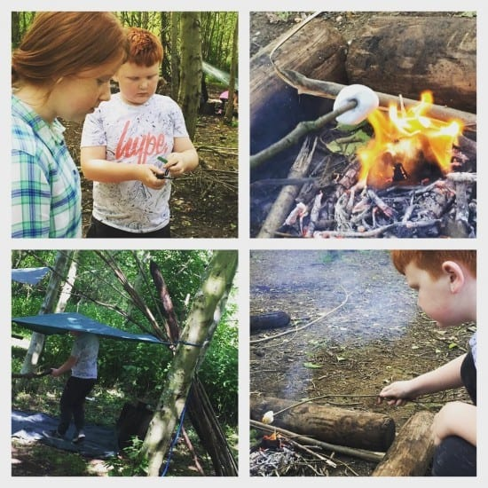 Day 7 - den building, making fires and toasting marshmallows.