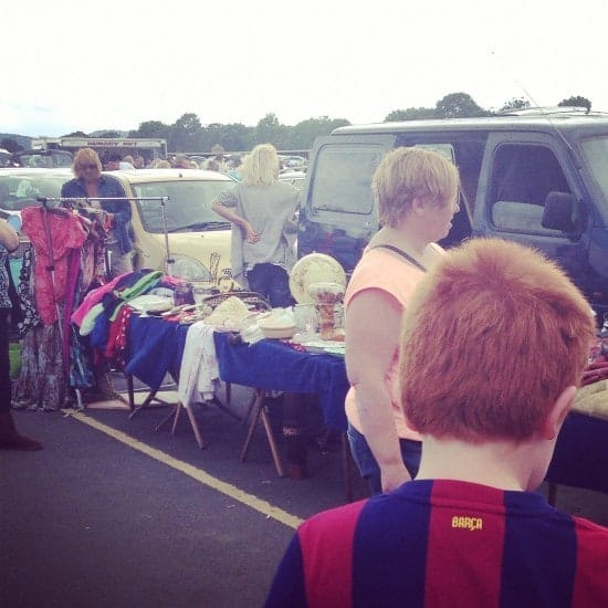 Master Frugal (and some  random woman) at the car boot sale just before his big find!