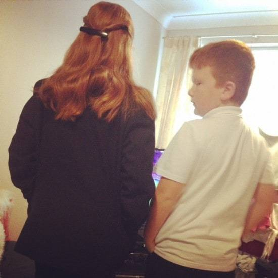 I took this while they were watching something before school. I can't believe how grown up they're looking.