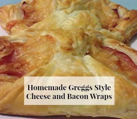 homemade greggs cheese and bacon wraps