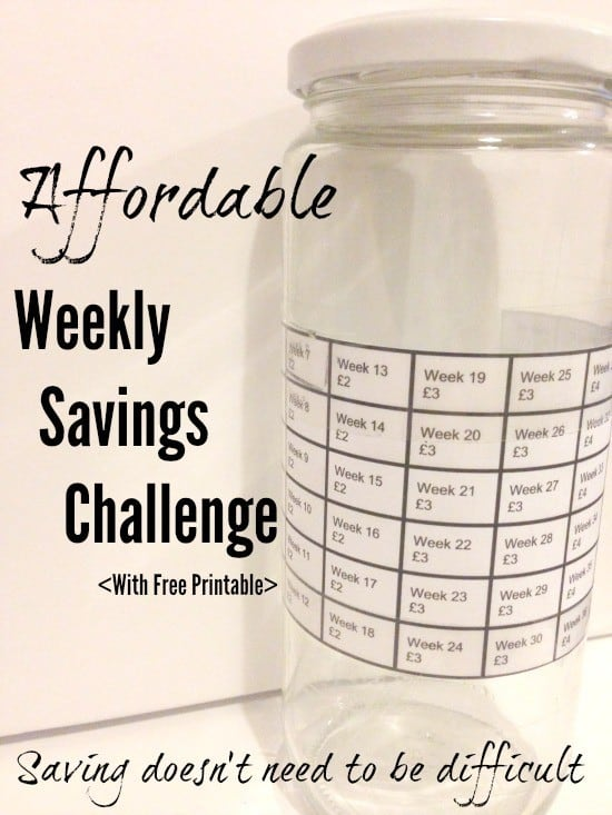 An affordable weekly savings challenge