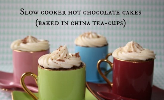 Slow cooker hot chocolate cup cakes