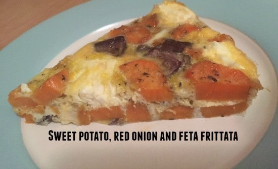 Sweet potato, red onion and feta frittata