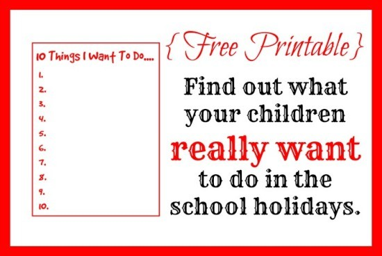 Find out what your children really want to do in the school holidays.