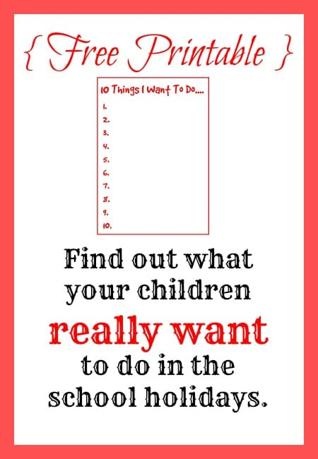 Find out what your children really want to do in the school holidays