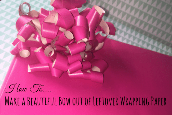 how to make a beautiful bow out of leftover wrapping paper