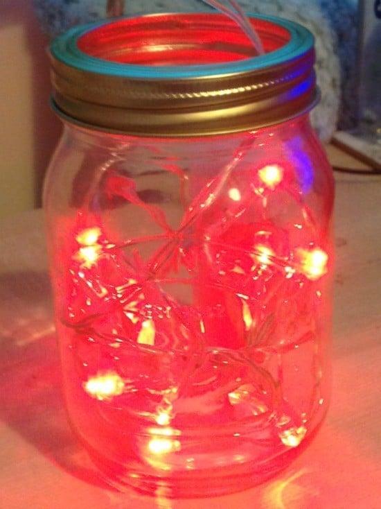 mason jar and fairy lights
