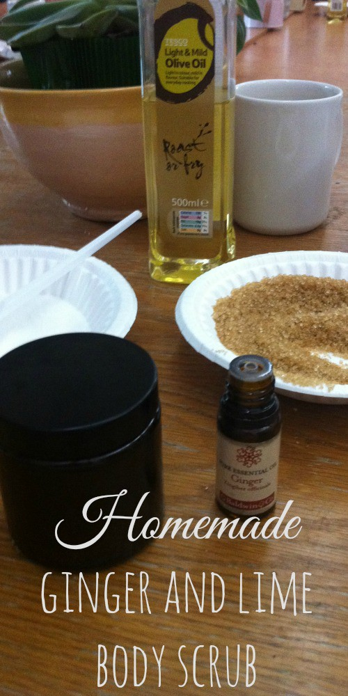 Homemade Ginger and Lime body scrub