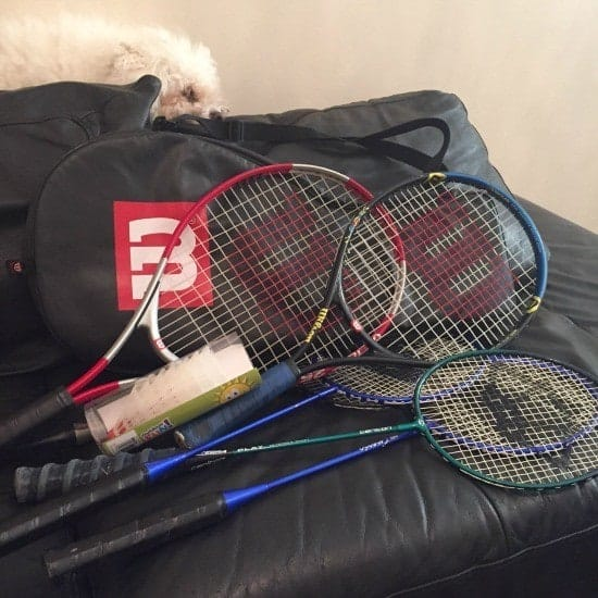 Bought some bargain tennis and badminton rackets.