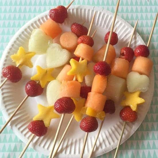 Homemade fruit kebabs.