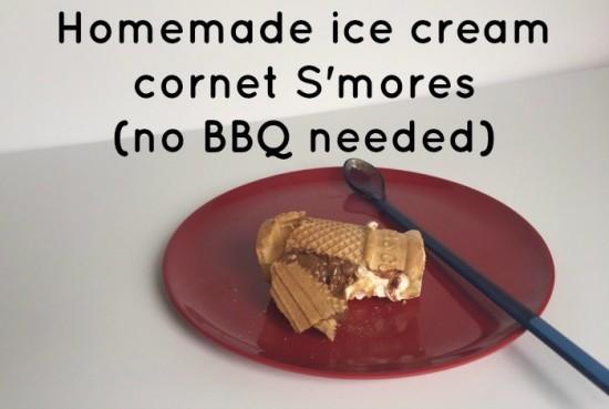 Homemade ice cream cornet S'mores (no BBQ needed)....