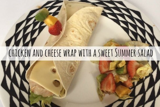 Yummy chicken and cheese wrap with a sweet Summer salad.