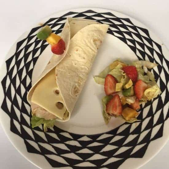 Yummy chicken and cheese wrap with a sweet Summer salad....
