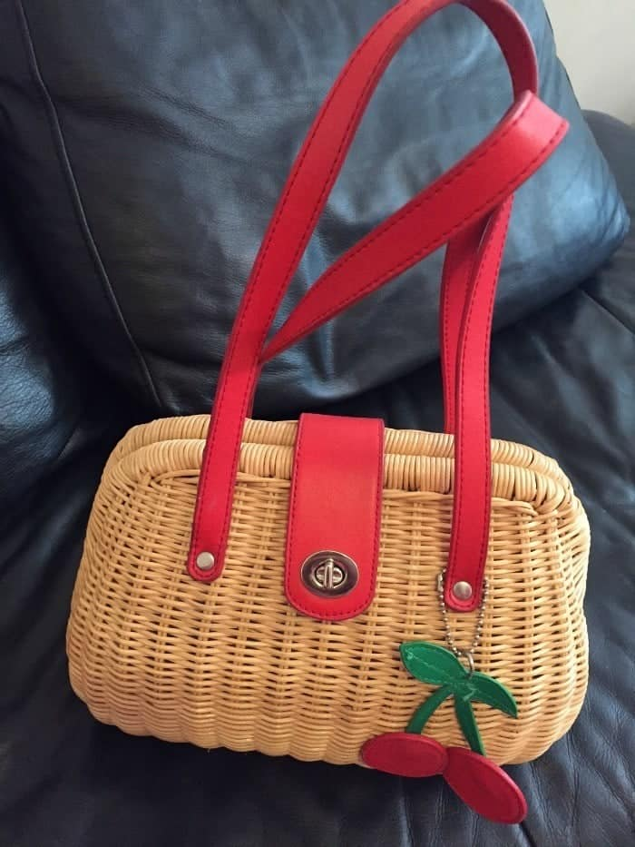 Next wicker handbag with cherries on