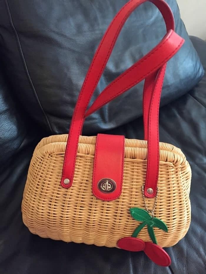 Next wicker handbag with cherries on