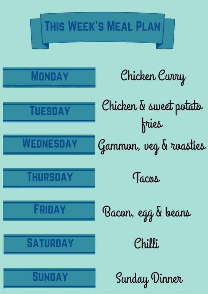 this weeks meal plan - 19 oct