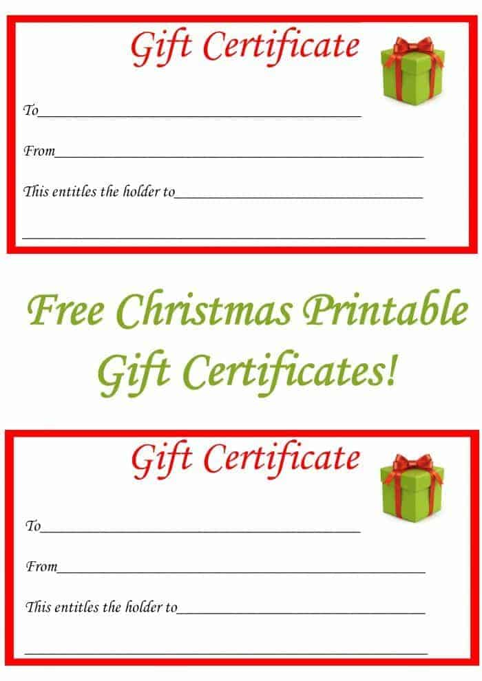 Free Christmas Gift Certificate Printables