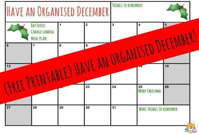 {Free Printable} Have an organised December!