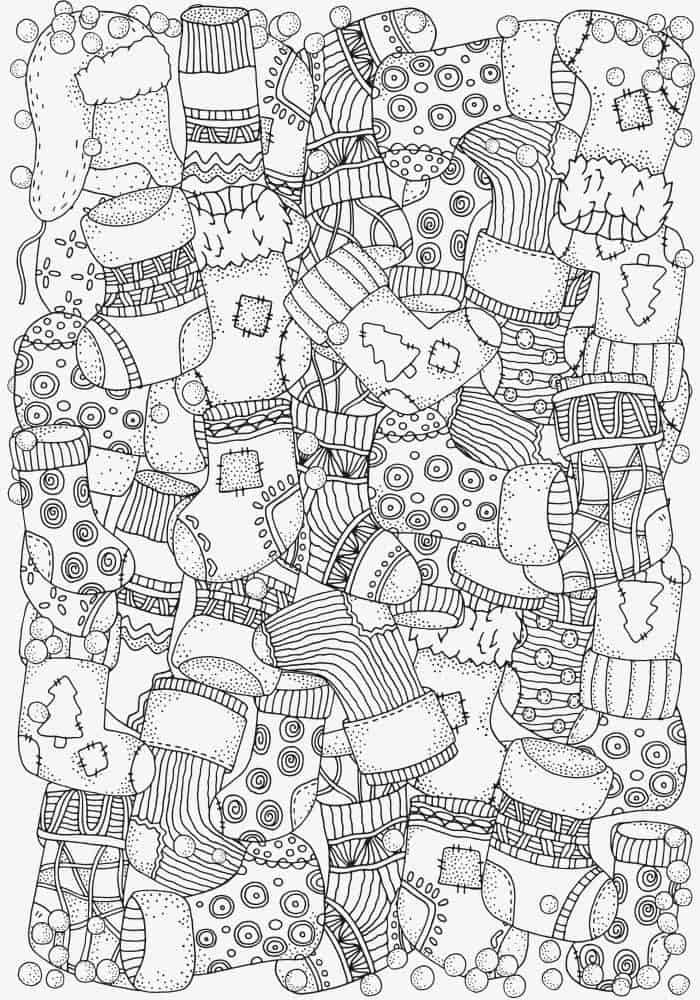 Christmas Stockings colouring page