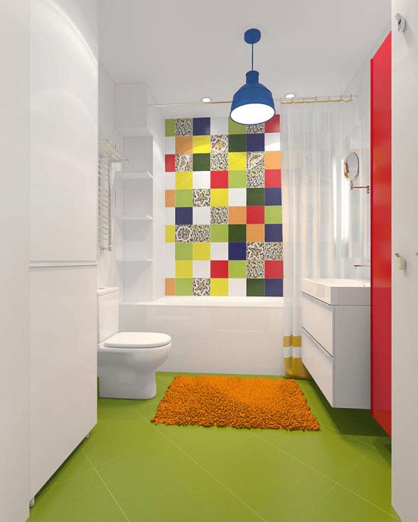 a colourful bathroom