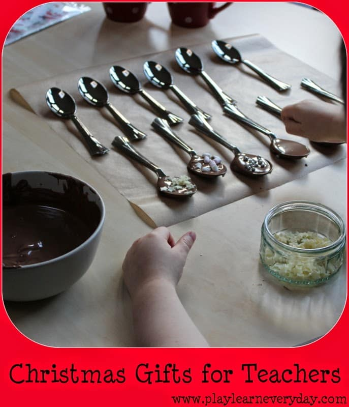 christmas gifts for teachers - making chocolate spoons