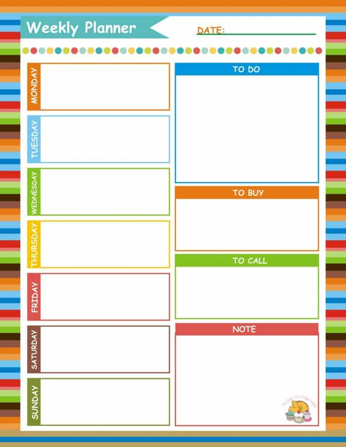 Current image in weekly planner printable