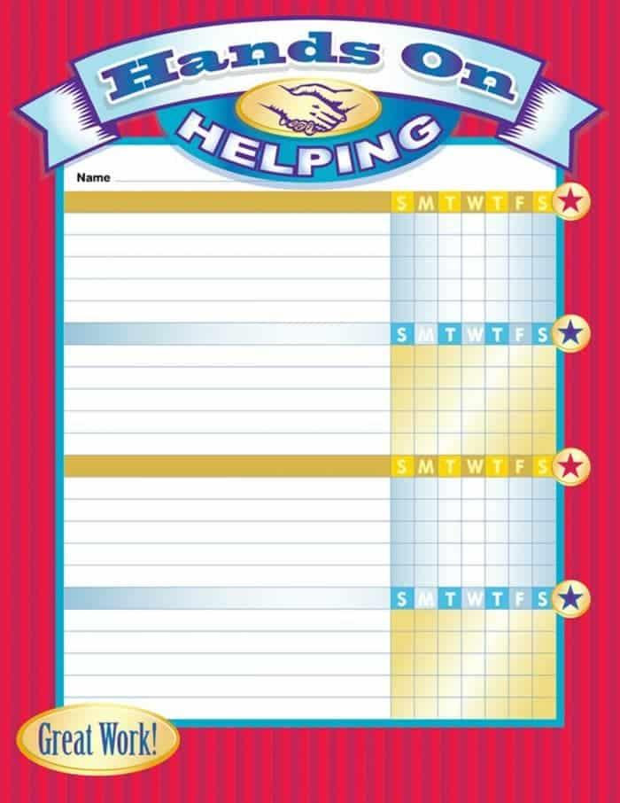 Weekly printable chore chart