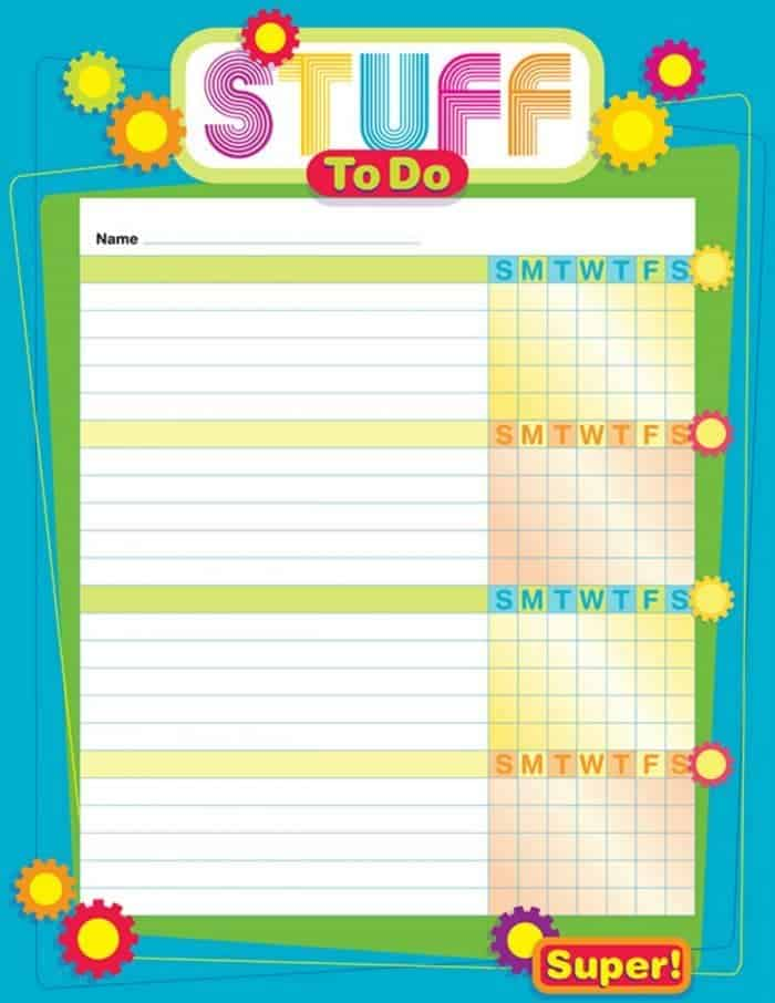 Free printable chore chart.