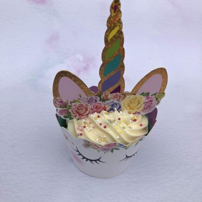 Unicorn cupcakes from a kit