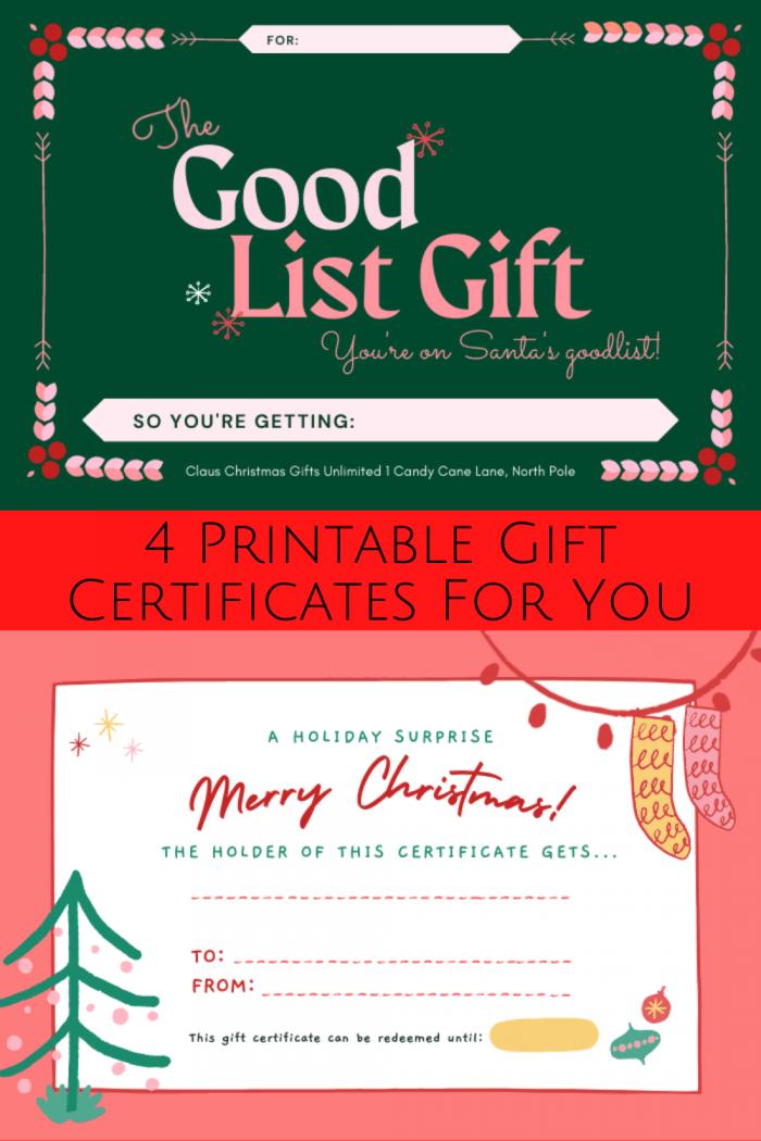 Christmas Printable Gift Certificates