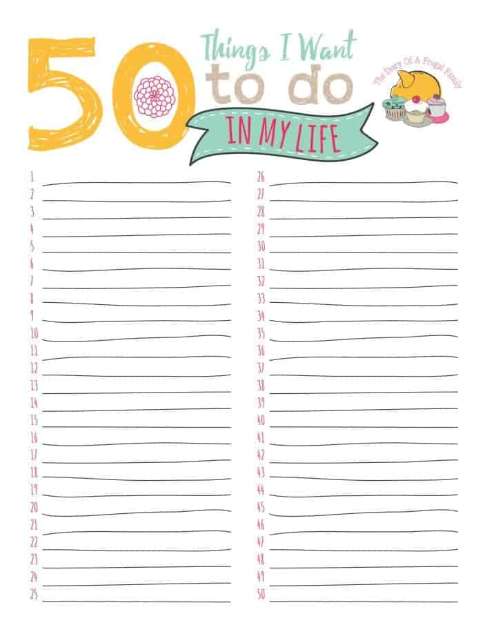 50 things I want to do in my life {free printable}