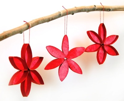 DIY Poinsetta Christmas Ornaments