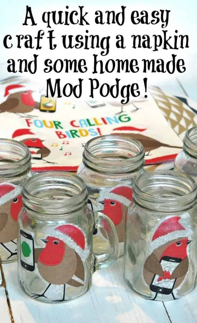 A quick and easy craft using a napkin and some homemade Mod Podge!