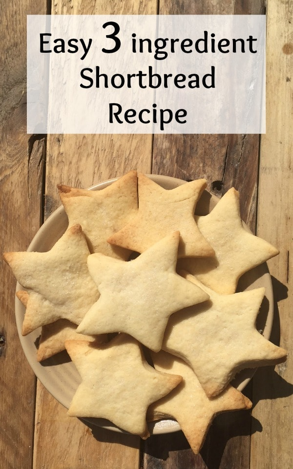 A super easy, 3 ingredient homemade shortbread recipe.  Great for cooking with kids or just impressing people with your incredible biscuit making skills.