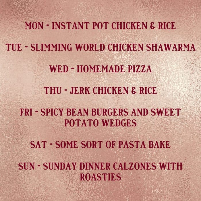 This week's meals