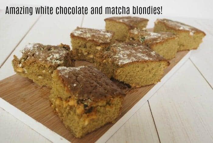 Amazing white chocolate and matcha blondies....