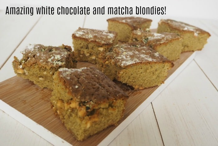 Amazing white chocolate and matcha blondies....
