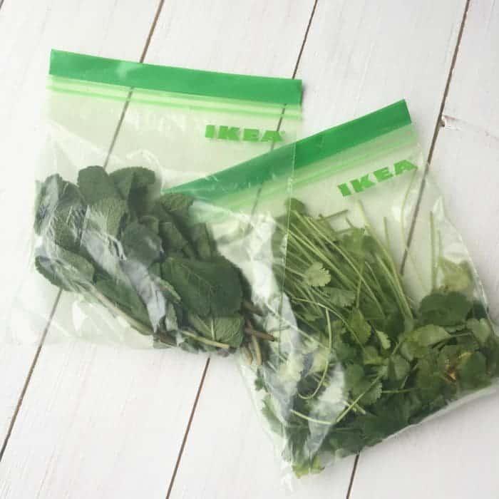 Bagging up fresh herbs