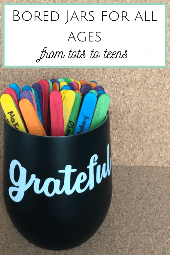 Bored Jars for everyone - from Tots to Teens... #boredjar #summerholidays #parenting #boredombuster