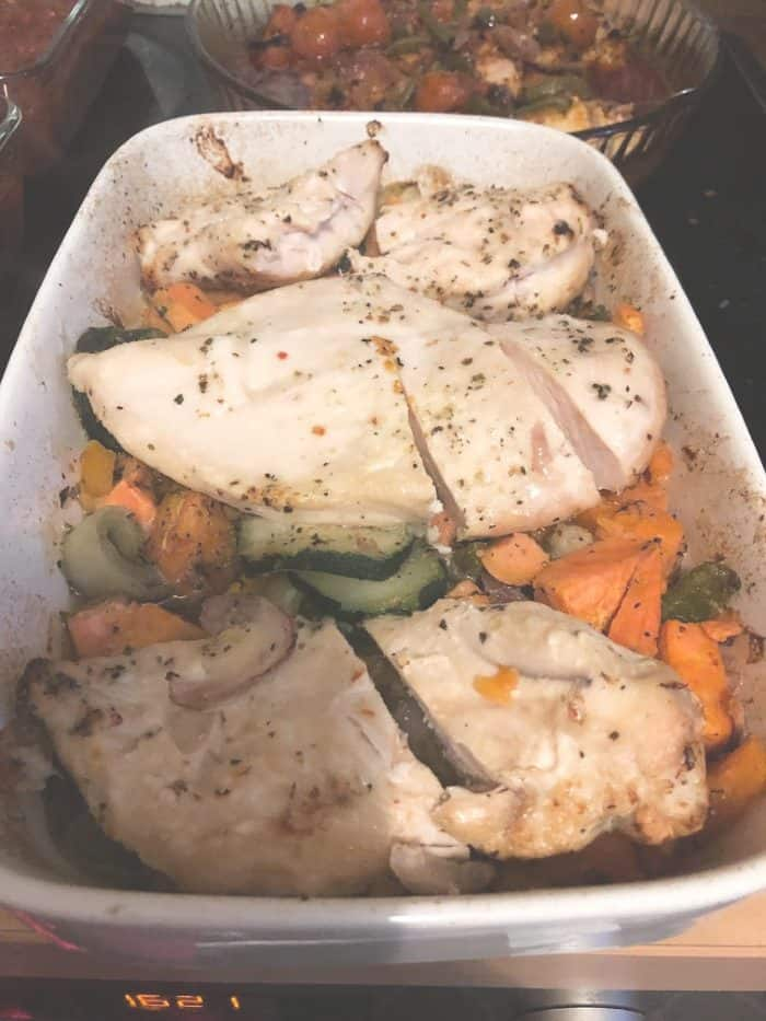Chicken and roasted vegetables - batch cooking