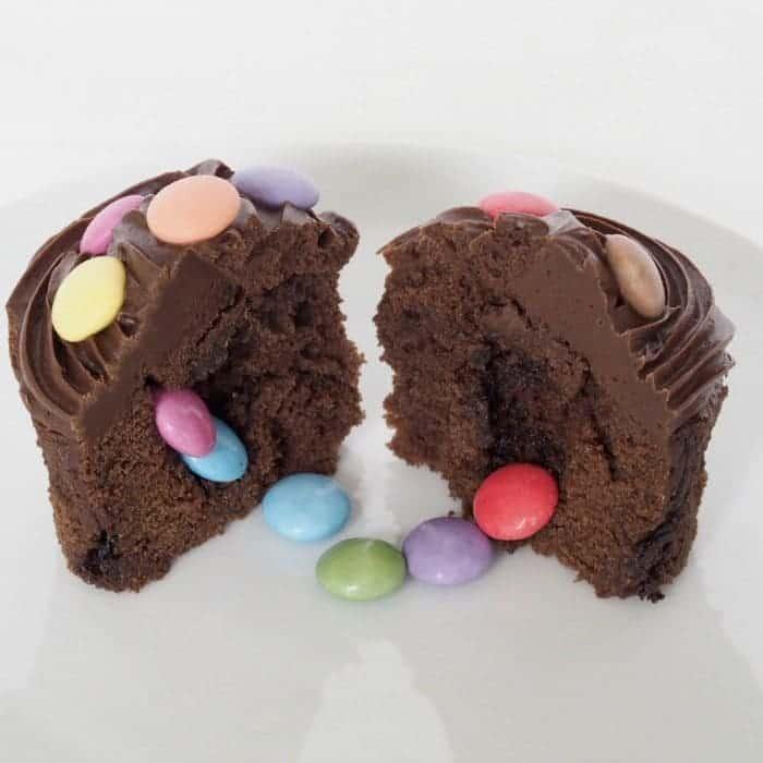 Chocolate Smarties Pinata Cupcakes.